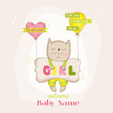 Baby Girl Cat with Balloons - Baby Shower or Arrival Card. In vector Royalty Free Stock Photo