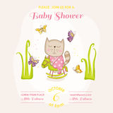 Baby Girl Cat on a Horse - Baby Shower or Arrival Card. In vector Stock Images