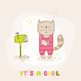 Baby Girl Cat with Mail - Baby Shower or Arrival Card. In vector Royalty Free Stock Photos