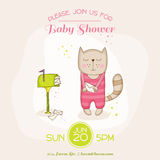 Baby Girl Cat with Mail - Baby Shower or Arrival Card. In vector Stock Photos