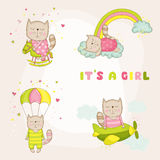 Baby Girl Cat Set - Baby Shower or Arrival Card Royalty Free Stock Photo
