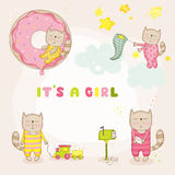 Baby Girl Cat Set - Baby Shower or Arrival Cards Stock Image