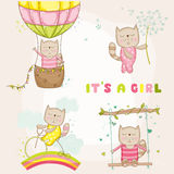 Baby Girl Cat Set - for Baby Shower or Baby Arrival Cards Royalty Free Stock Photo