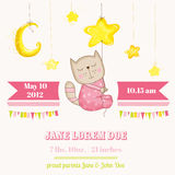 Baby Girl Cat Sleeping on a Star - Baby Shower or Arrival Card Royalty Free Stock Image