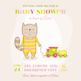 Baby Girl Cat with a Train - Baby Shower or Arrival Card Royalty Free Stock Images