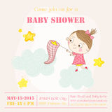 Baby Girl Catching Stars on a Cloud - Baby Shower or Arrival Card. In vector Royalty Free Stock Photo