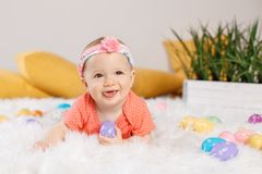 Baby girl celebrating Easter holiday Royalty Free Stock Photo