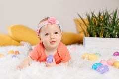 Baby girl celebrating Easter holiday Royalty Free Stock Images