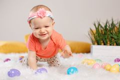 Baby girl celebrating Easter holiday Stock Photography