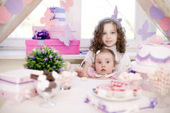 Baby girl celebrating first birthday Royalty Free Stock Photo