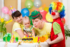 Baby girl celebrating birthday Stock Images