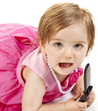 Baby Girl with Cell Phone Stock Images