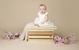 Baby Girl with Cherry Blossom Flowers in Spring Dress on Blanke Stock Image