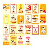 Baby girl with chicken costume milestone card. Set Stock Photos