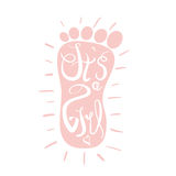 Baby girl child feet . Vector illustration with lettering isolated on white.  Stock Image