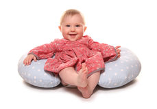 Baby girl chilling out. Studio cutout Stock Photos