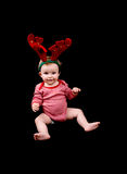 Baby girl in christmas costume Royalty Free Stock Images