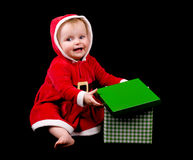 Baby girl in christmas costume Royalty Free Stock Photo