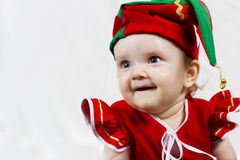Cute Christmas Elf on white background Stock Images
