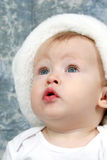 Baby Girl in Christmas Hat stock photos