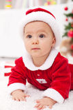 Baby girl in christmas outfit Royalty Free Stock Photos