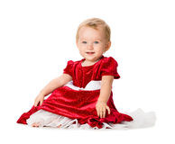 Baby Girl in Christmas Outfit on White Background Stock Photos