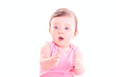 Baby girl clap her hands. Royalty Free Stock Image