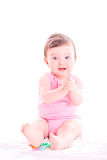 Baby girl clap her hands. Royalty Free Stock Photography