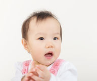 Baby girl clapping hand Royalty Free Stock Image
