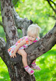 Baby girl climbing Royalty Free Stock Photography