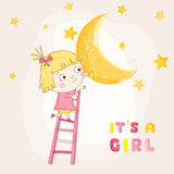 Baby Girl Climbing on a Moon - Baby Shower or Arrival Card. In vector Royalty Free Stock Image