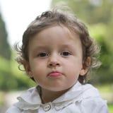 Baby girl closeup outdoor Stock Photos