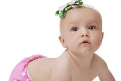 Baby girl in cloth diaper Stock Images