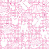 Baby girl clothes seamless pattern Royalty Free Stock Image