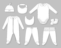 Baby girl clothes set. Flat sketch  on grey background Stock Image