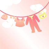 Baby girl clothing card Stock Photography