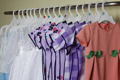 Baby Girl Clothing Hanging on clothesline Stock Photos
