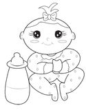 Baby girl coloring page. Useful as coloring book for kids Stock Photo