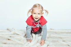 Baby girl crawling Royalty Free Stock Photo