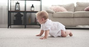Baby girl crawling on carpet. Adorable baby girl crawling on carpet at home stock footage