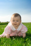 Baby girl crawling on grass Royalty Free Stock Photography