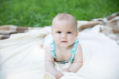 Baby girl crawling on the grass Royalty Free Stock Images