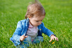 Baby girl crawling on the green grass Royalty Free Stock Photography