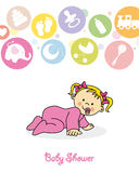 Baby girl crawling. Baby shower. baby girl birthday card. baby girl crawling Stock Photos