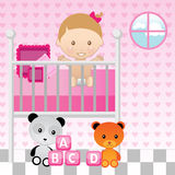 Baby Girl in Crib Royalty Free Stock Photos