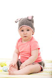 Baby girl with croched bunny hat Royalty Free Stock Photography