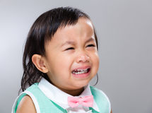 Baby girl cry. With gray background Stock Images