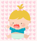 Baby girl crying. Art Vector Illustration Royalty Free Stock Images