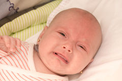 Baby girl crying. Portrait of a baby girl crying royalty free stock images