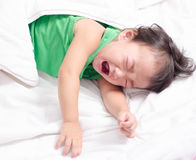 Baby girl is crying. And screaming stock image